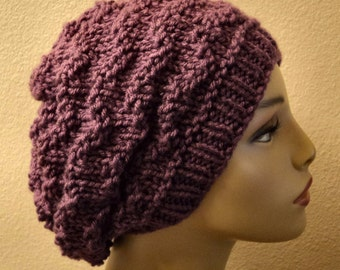 Hand Knitted Acrylic Mulberry Chevron Stitch Slouchy Hat