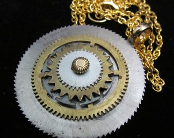 Beautiful Steampunk Inspired Gear and Washer Necklace Pendant  Q 5