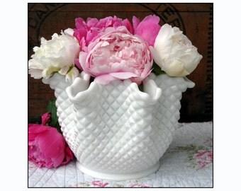 Westmoreland Milk Glass English Hobnail Handkerchief Vase/Wedding Centerpiece