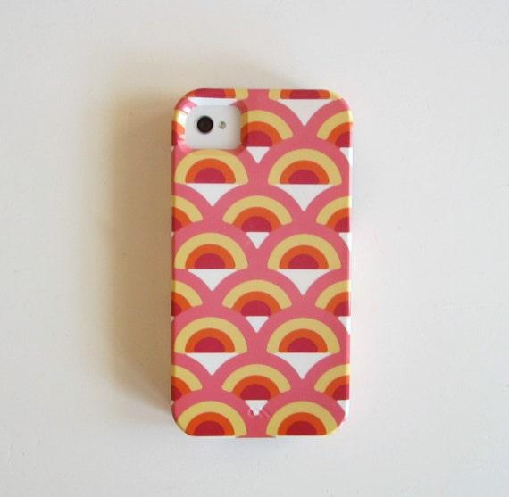 SALE Pink IPhone 4/4s case iPhone 4 Retro Rainbow PINK Geometric iphone case VIBE yellow orange  redtilestudio