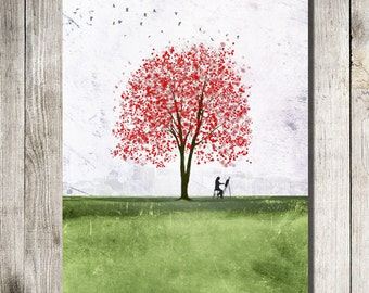 Waiting 11x14 --tree art print .Christmas gift