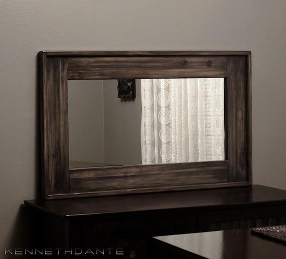 Distressed Rustic Wood Mirror Streaky Weathered By