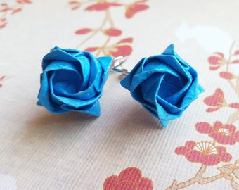 Blue Origami Rose Earrings, Origami Jewelry, Flower Earrings, Asian Earrings, Cotten Paper Jewelry - Birthday, Anniversary, Wedding Gift