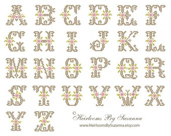 Antique Floral Monogram Set - Machine Embroidery - Floral Machine Cross Stitch Font - Cross Stitch Initial - Floral Initial - No. HBS-366