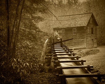 Old Mingus Mill and Flume in the Great Smoky Mountain National Park in Tennessee No.SP0348 A Fine Art Sepia Toned Landscape Photograph