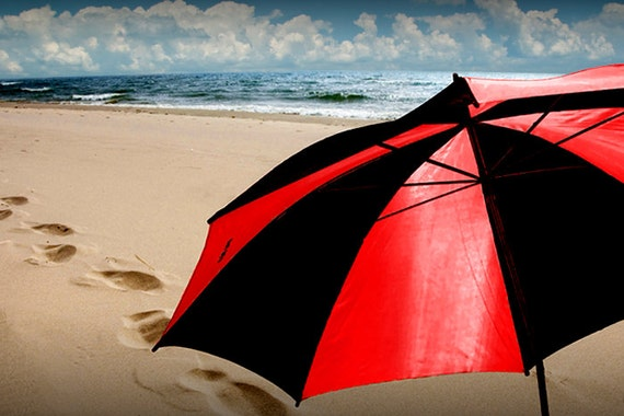 Red and Black Beach Umbrella with Footprints in the Sand in Michigan on the Lake Michigan Shore No.1093 - A Fine Art Seascape Photograph