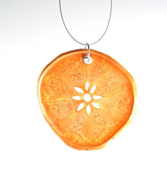 fruit jewelry persimmon necklace real fruit jewelry fruit necklace 486