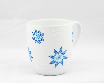 Hand Painted Ceramic Mug Winter tea cup white blue snowflakes  white minimalist  kitchen decor Decorative Art