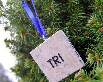 Triathlon Tile Ornament Tree Hanging