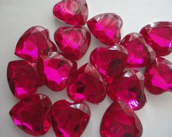 Kawaii dark pink heart rhinestones decoden deco diy 15 mm  15 pcs-- USA seller