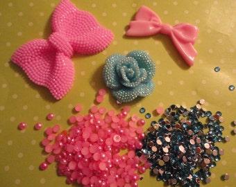 Kawaii decoden deco diy pink bow cabochon charm kit  282---USA seller