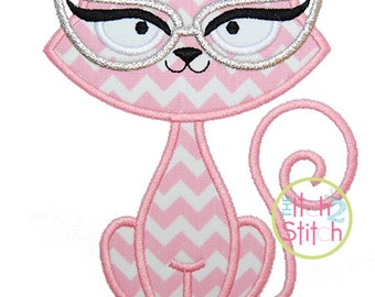 "Cat Glasses Applique, Shown with our ""Cutsie Joe"" Font NOT Included, Sizes 4x4, 5x5, & 6x6 INSTANT DOWNLOAD available"