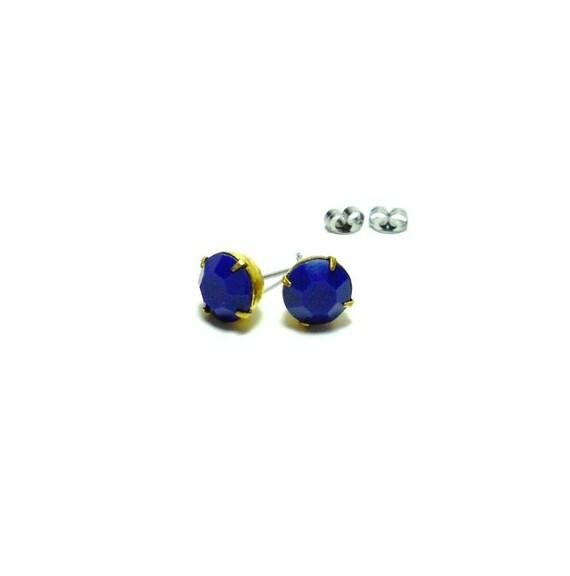 Vintage Faceted Cobalt Blue Glass Estate Jewels Earring Studs - Estate Jewelry - Rhinestone Studs