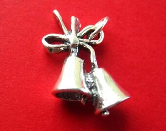 Sterling Silver Wedding  Bells  Pendant Charm