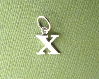 Sterling Silver Alphabet Letter x  Initial Charm in Typewriter Style