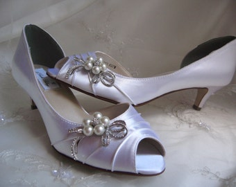 Wedding Shoes Bridal Shoes with Pearl and Crystal Rhinestone Bow Design -100 Additional Colors To Pick From