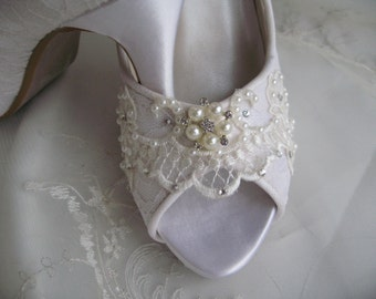 Wedding Shoes Ivory or White Bridal Shoes with Lace and Swarovski Crystals and Pearls