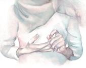 H009 Original watercolor painting art Hands by Helga McLeod