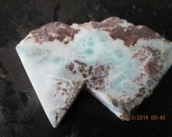 Sky Blue Tortoise Shell Larimar Lapidary Rough Stone in Matrix