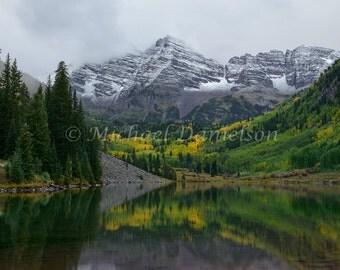 Maroon Bells Aspen Colorado Mountain Lake Photograph Print 8x10