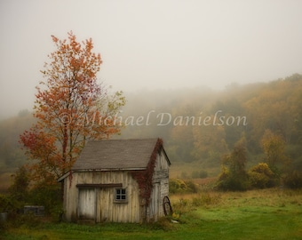 Connecticut Country Shed Autumn Fall Photograph Print 8x10