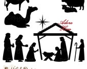 Christmas Nativity Silhouette Clip Art for Commercial Use  - Wise men Shepherd Animals Extended Version