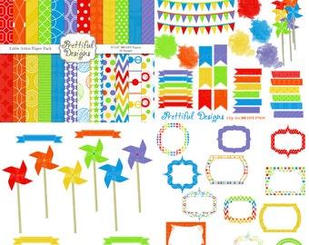 Little Artist Digital Paper Pack Clip Art Kit Pinwheel Digital Frame Washi Tape Journal Spot