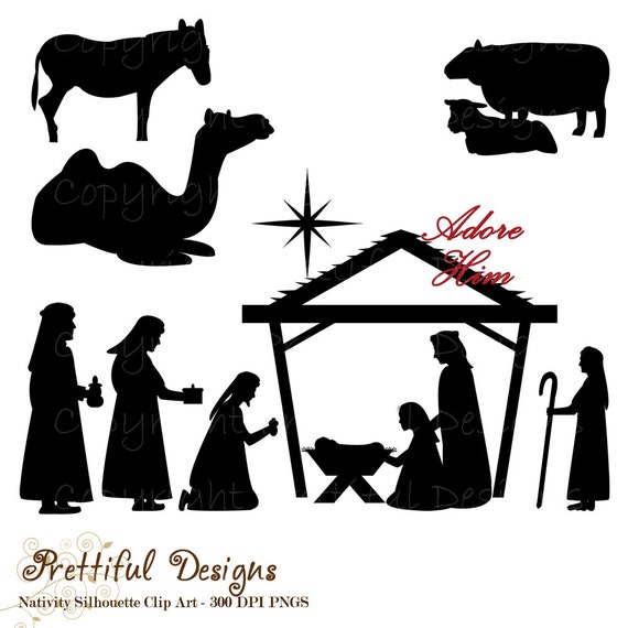 50% OFF SALE Christmas Nativity Silhouette Clip Art for Commercial Use  - Wise men Shepherd Animals Extended Version (783)