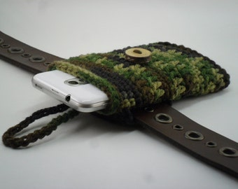 Phone Cozy Pouch with Belt Loop - Green Brown Black Forest Camo with Natural Wood Tree Branch Button Closure