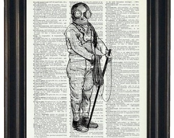BOGO SALE Deep Sea Diver Upcycled Dictionary Book Page Print Antique Diver Print on Vintage Dictionary Page 8 x 10