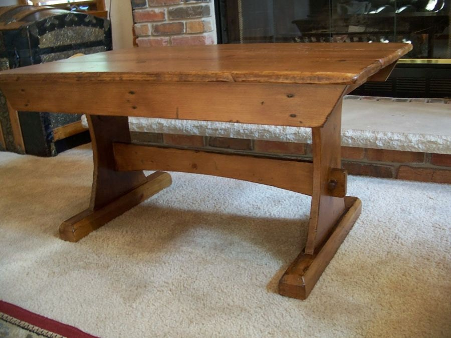 Rustic trestle style coffee table for Trestle coffee table