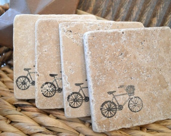 TRAVERTINE Natural Stone Hand Stamped Coasters, Set of 4.