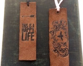 Leather Bookmarks Happy Life Bee Inspired Unique Book Lover Gift Back to School