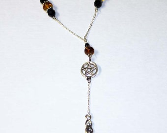 OOAK Witches Rosary Necklace Sterling Silver Amber & Jet Handcrafted FREE SHIPPING  PntNkOO-01