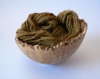 SALE Handspun Navajo Plied Alpaca Yarn Hand Dyed - Olive 28 yards Super Bulky Weight