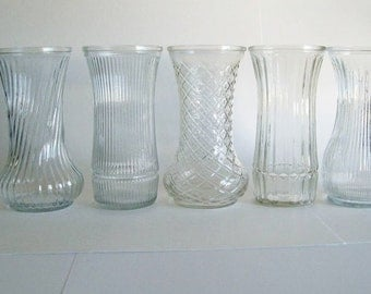 Set of 5 Different Vintage Clear Glass Hoosier Vases Instant Collection Home or Wedding Decor