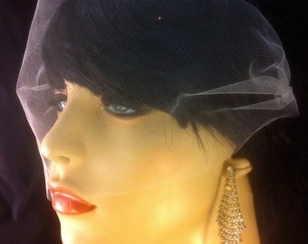 Silk Tulle Bandeau Veil, Bridal Veil, Wedding Veil, Hair Accessories, Wedding Accessories, Comes in Ivory, White, Champagne and Black
