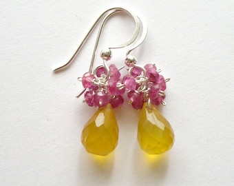 SALE Pink Yellow Cluster Earrings, Pink Sapphire Earrings, Pink Raspberry Gemstone Cluster, Tiny Cluster Earrings:  40% Off