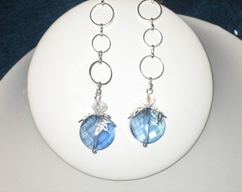 Flat Round Crystal Earrings Filigree Caps, Silver Plated, Ear Wires, Baby Blue, Dangle