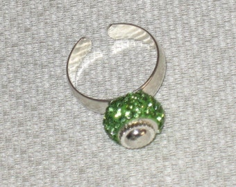 Euro Green Crystal Bead Ring Removable Silver Plated