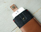 IPHONE 5 COVER felt - leather pocket and closure - grey/black/brown - wallet - pouch - men
