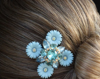 something blue bridal hair comb vintage blue wedding hair comb bridesmaid comb aurora borealis swarovski crystals rhinestone headpiece