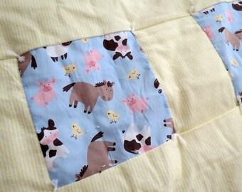 Farm Animals on Light Blue baby patchwork quilt