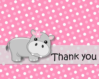 Girl PINK HIPPO Baby Shower or Birthday Party - 12 FOLDED Thanks You Cards with envelopes