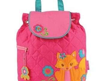 SHIPS NEXT DAY--Personalized Monogrammed --New Pattern-- Stephen Joseph Kid Quilted Girl Fox  Backpack--Free Monogramming--