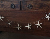 Natural White Finger Starfish Garland for Coastal DIY Do it yourself Decorating/ Starfish on String Garland/ Mantle Decor Display Theme SEA