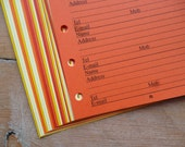 Address inserts - Fits Filofax or Organiser - yellow, orange and red - personal/pocket/mini