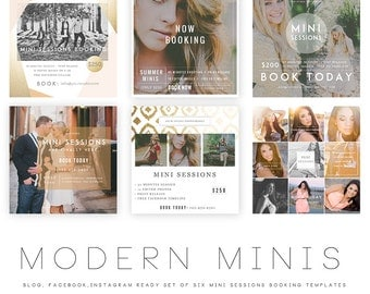 INSTANT DOWNLOAD  Modern Minis Blog, Facebook and Instagram ready Templates vol 1