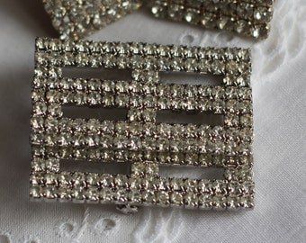 Vintage Large Rhinestone Brooch With Matching Clip Earrings