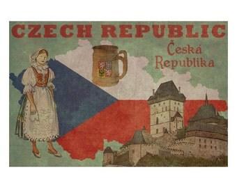 CZECH REPUBLIC 1FS- Handmade Leather Journal / Sketchbook - Travel Art